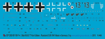 ep 2929 markings for a Bf 109 F-4 , Stab III./JG77 Kurt Ubben, Russland, 5.9. 1941
