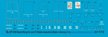 ep 2938 markings for a german V2/A4 rocket in whiteprint