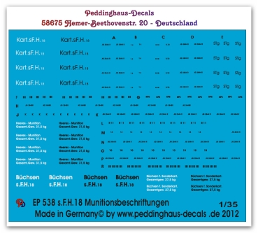Peddinghaus 1/35 0538  Stencils for 150 mm ammo for sFH 18 and Hummel