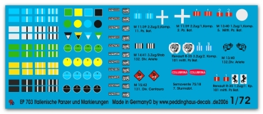Peddinghaus-Decals 1/72  0703 Italian tank and vehicle markings 2. WW