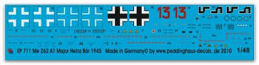 Peddinghaus-Decals 1/48 0711 Markings for Me 262 Major Heinz Bär EJG 2 , march 1945