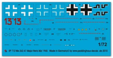 Peddinghaus-Decals 1/72 0712 Markings for Me 262 Major Heinz Bär EJG 2 , march 1945