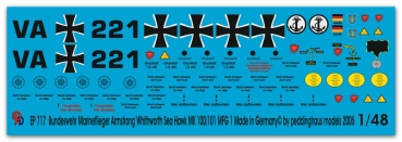 Peddinghaus-Decals 1/48 0717 Markings for german Bundesmarine Sea Hawk