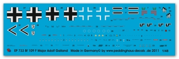 Peddinghaus-Decals 1/48 0733 Bf 109 F Obstl. Adolf Galland