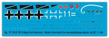 Peddinghaus-Decals 1/48 0735 Bf 109 G-6 Major Erich Hartmann, Russia