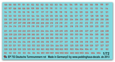 Peddinghaus-Decals 1/72  0753 German turret numbers red with white outline