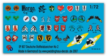 Peddinghaus-Decals 1/72 0807 german Luftwaffe fighter different unit signs No 2