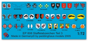 Peddinghaus-Decals 1/72 0808 german Luftwaffe fighter different unit signs No 3