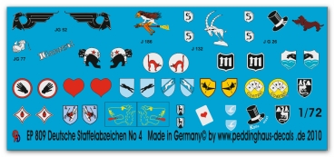 Peddinghaus-Decals 1/72 0809 german Luftwaffe fighter different unit signs No 4
