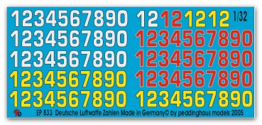 Peddinghaus 1/32 0833  German airforce numbers No 1