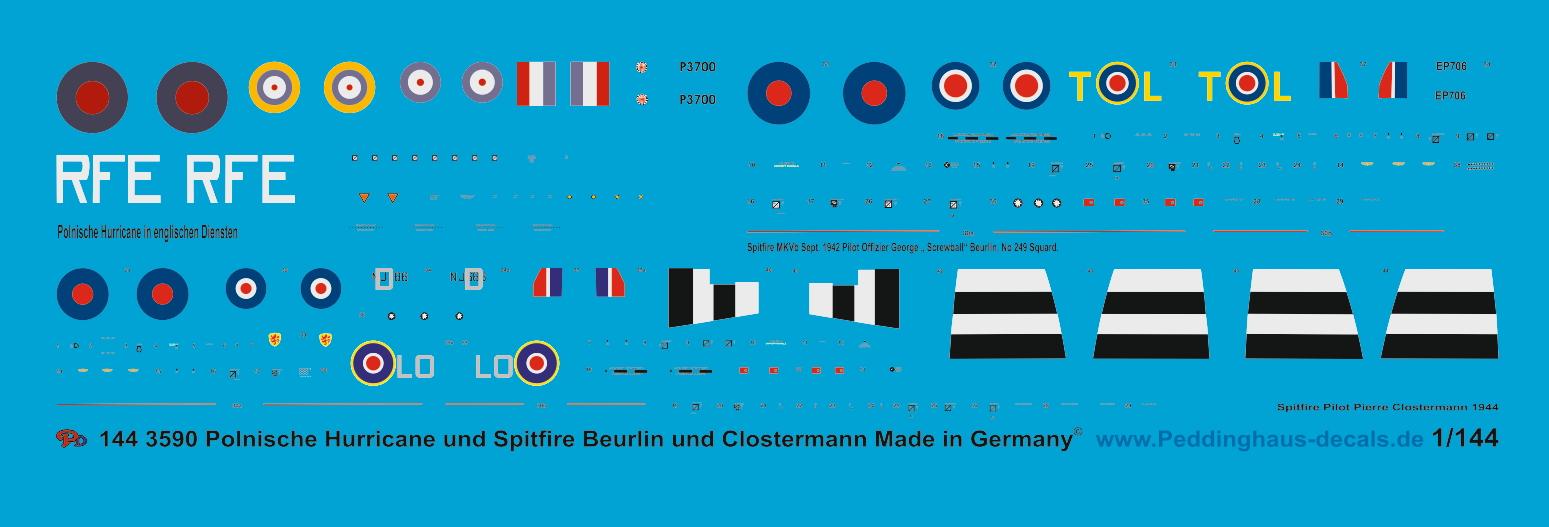 """Peddinghaus-Decals 1//144 3590 1 polnische Hurricane und Spitfire George /""""Screwba"""