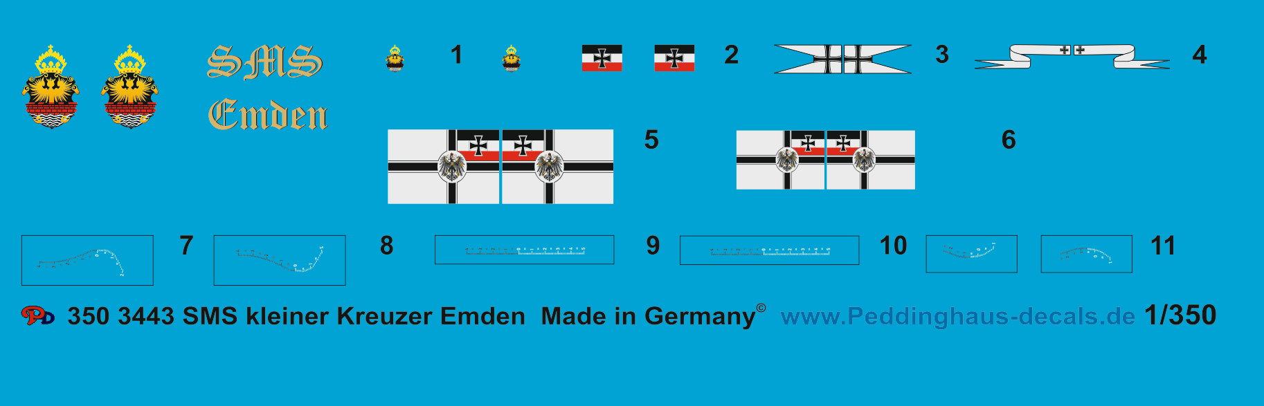 Peddinghaus 1//350 3443 SMS kleiner Kreuzer Emden