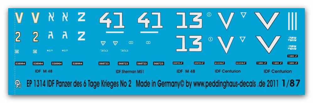 Tage Krieges No 3 Peddinghaus  1//87 1315 IDF Panzer des 6