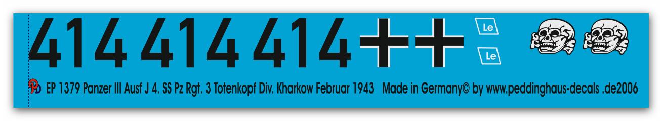 Kursk 1943 Peddinghaus 2278 1//16 Panzer III Ausf M 4.SS.Pz.Reg 3 Totenkopf Div