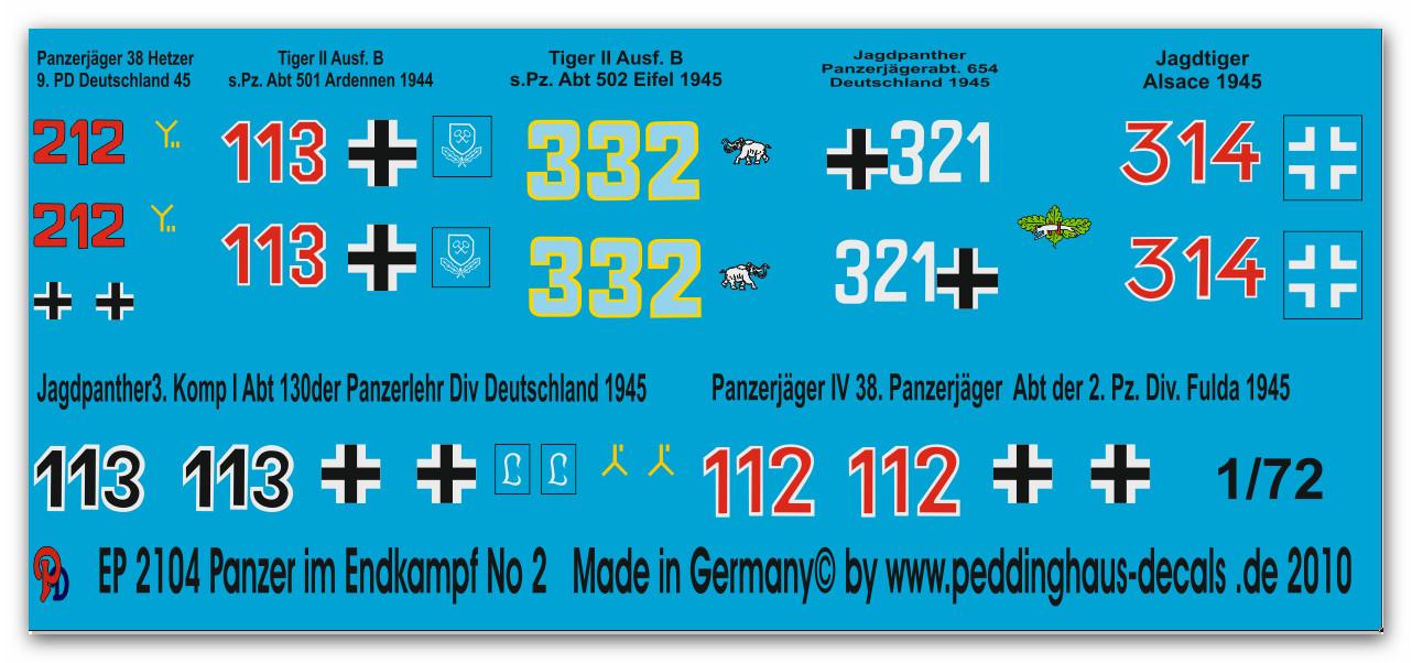 Peddinghaus-Decals 1//35 2102 Panzer im Endkampf No 2