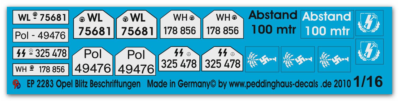 Peddinghaus-Decals 1//16 2283 Opel Blitz Beschriftungen