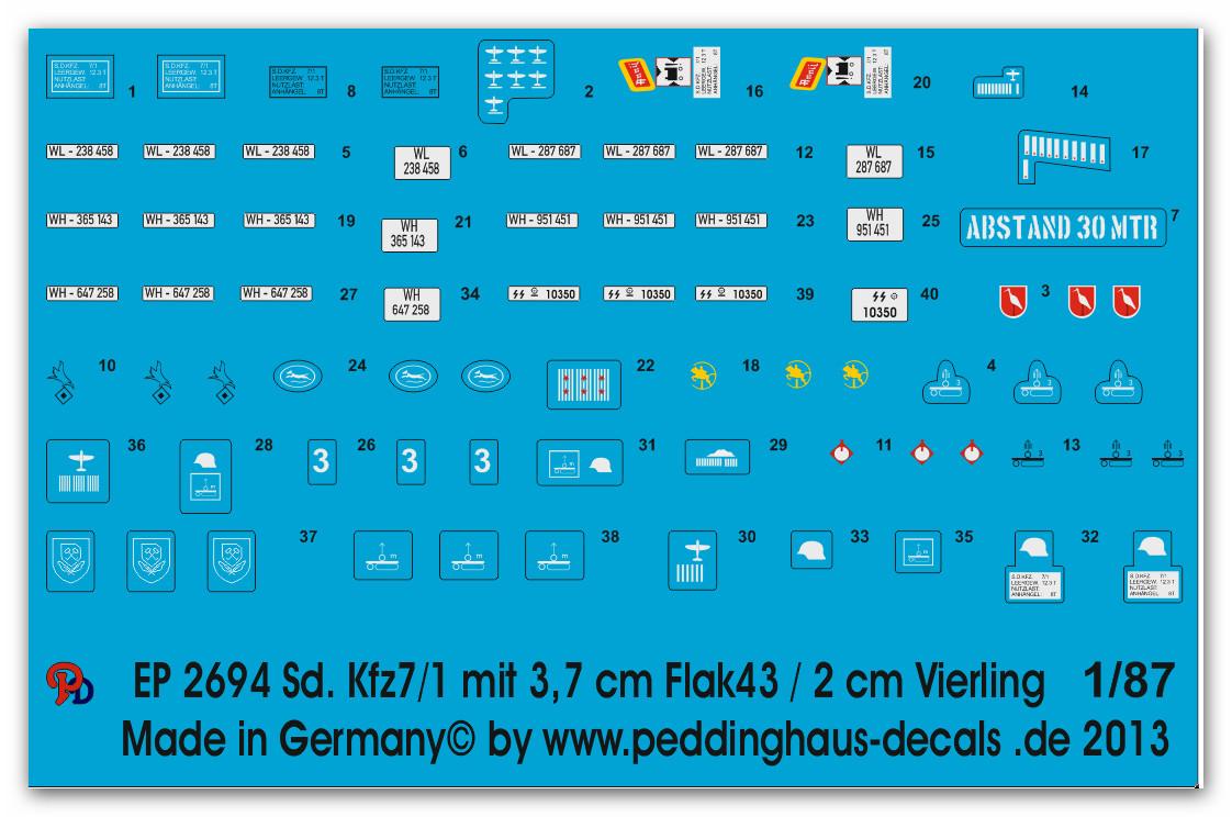 Kfz 7-1 8 ton Zugmaschine gepanzert und ungepan Peddinghaus-Decals 1//35 2691 Sd