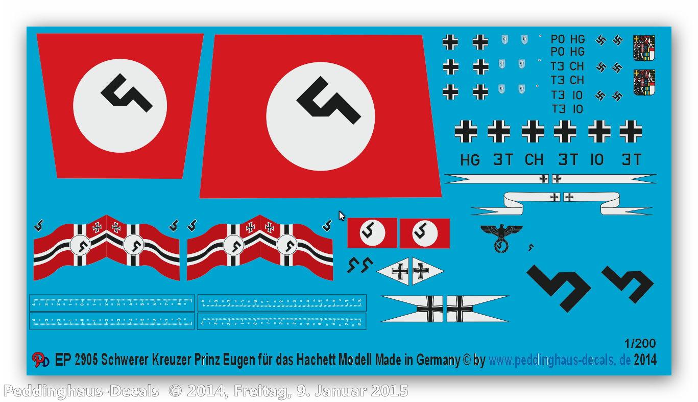 Peddinghaus 1/200 2905 markings for the Hachett Model of the Prinz Eugen