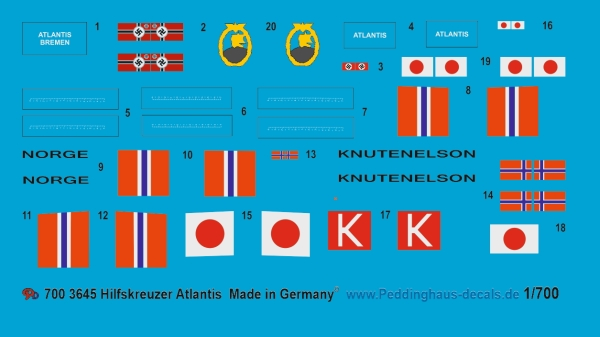 Peddinghaus-Decals 1/700 3645 Hilfskreuzer Atlantis