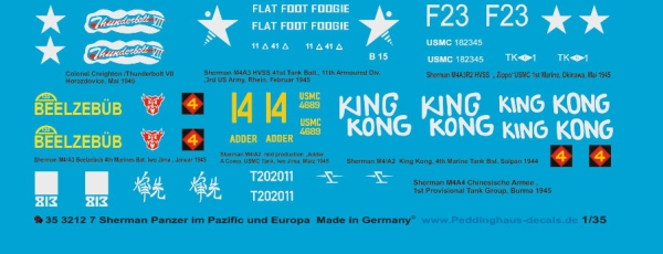 Peddinghaus-Decals 1:35 3212  7 different Sherman tanks in Asia and Europe