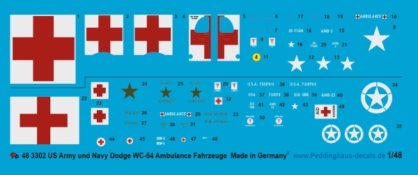 Peddinghaus-Decals 1/48 3302 US Army and Navy Dodge WC-54 Ambulance
