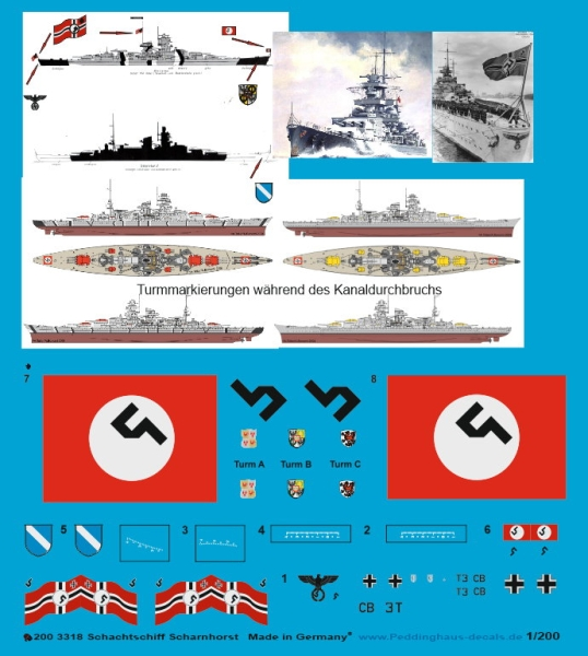 Peddinghaus 1/200 3318 German battleship Scharnhorst with basic markings