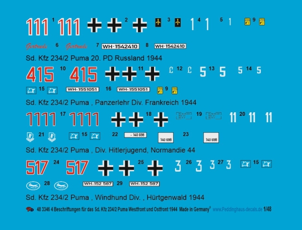 Peddinghaus-Decals 1/48 3346 4 Sd. Kfz 234/2 Puma , Westfront and eastfront 1944