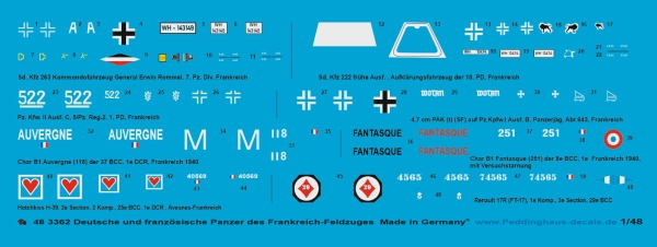 Peddinghaus-Decals 1/48 3362 german and french tank markings of the french campaign 1940
