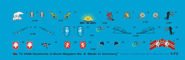 Peddinghaus 1/72 3446 German U-Boot conning tower insignia No 6