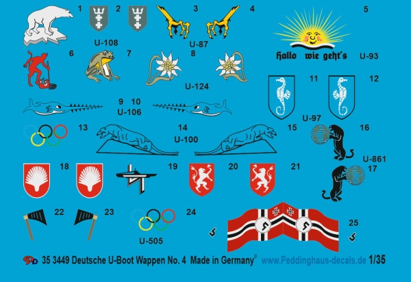 Peddinghaus 1/35 3449 german U-Boot conning tower insignia No 4