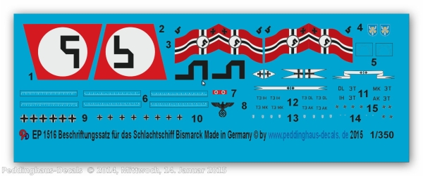 Peddinghaus 1/350 1516  markings for the Battleship Bismark and 3 shipplanes Ar 196