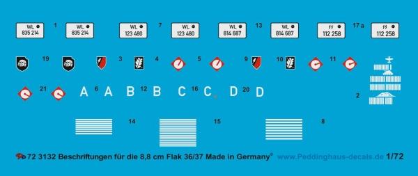 Peddinghaus 3132 1//72  Beschriftungen für die 8,8 cm Flak 36