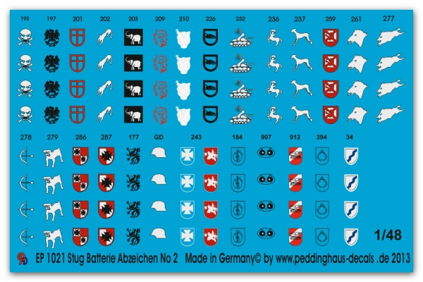 Peddinghaus-Decals 1/48 1021 Stug Battery unit markings No 2