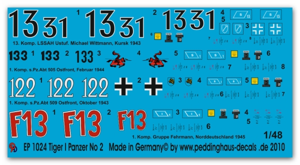 Peddinghaus-Decals 1/48 1024 Tiger tank markings No 2