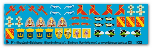 Peddinghaus 1/32 1630  French unit badges 33 Escadron Reece BA 124 Strasbourg