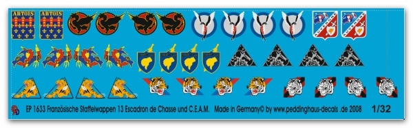 Peddinghaus 1/32 1633  French unit badges 13. Fighter group BA 132 Colmar