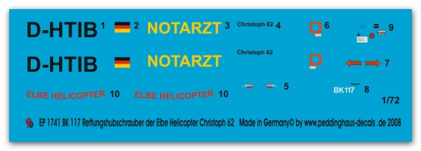 BK 117 Resue helicopter D-HTIB of the Elbe Helicopter Christoph 62