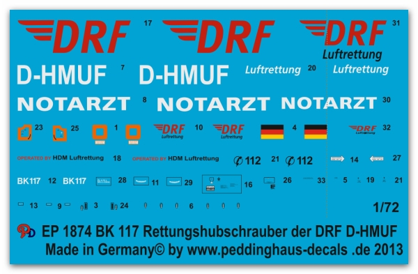 Peddinghaus-Decals 1:72 1874  BK 117 Rescue helicopter with the new DRF Logo D-HMUF