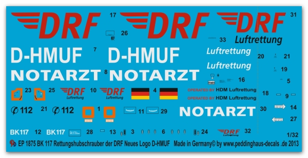 Peddinghaus-Decals 1:32 1875  Bk 117 Rescue helicopter with the new DRF Logo D-HMUF