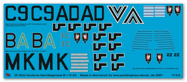 Peddinghaus 1/32 2044 3 markings for BF 110 G4 Nightfighter acces Schaufer-Zommer Becker