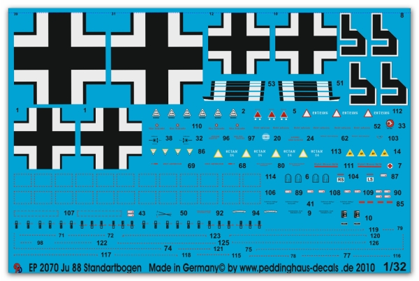 Peddinghaus 1/32 2070  major stencils for Ju 88