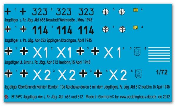 Jäg Abt Peddinghaus-Decals 1//87 2598 Jagdtiger der s.Pz 653 und 512