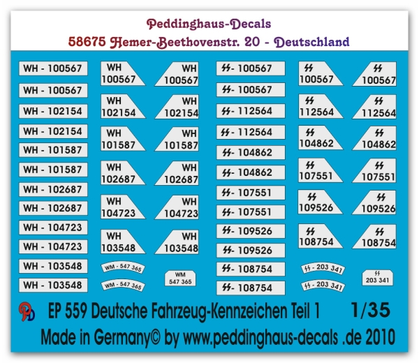 Peddinghaus 1/35 0559  Wehrmacht and Waffen SS numberplates